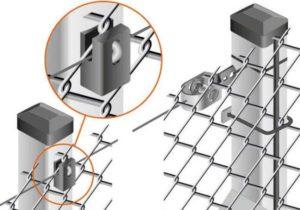 Крепление сетки рабицы к металлическим столбам