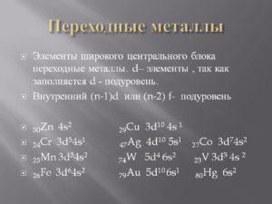 Переходные металлы список